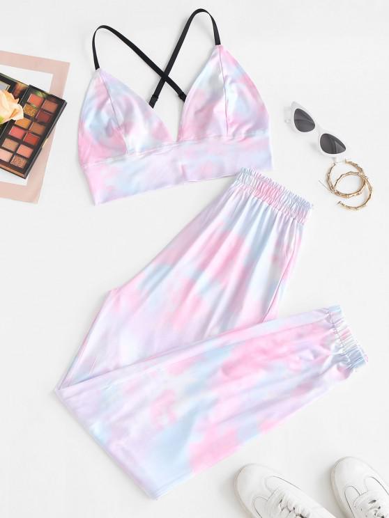 affordable Tie Dye Crisscross Two Piece Pants Set - LIGHT PINK S