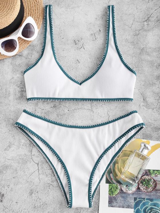 ZAFUL Maillot de Bain Bikini Côtelé Contrasté Cousu - Blanc L