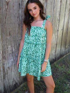 Olivia Messler X ZAFUL Tie Ditsy Print Tiered Trapeze Sundress - Green S
