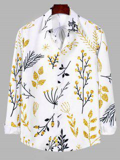 Plant Pattern Long Sleeve Button Up Shirt - White 2xl