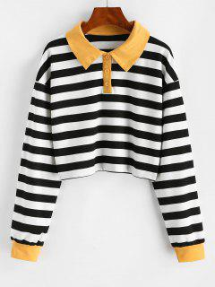 Half Buttoned Cropped Contrast Stripes Sweatshirt - Black L