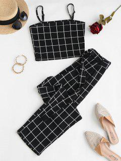Grid O-ring Belt Two Piece Pants Set - Black S