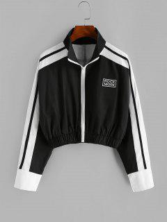 Patch Two Tone Cropped Jacket - Black M