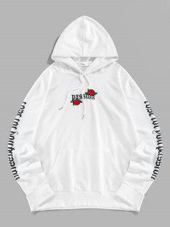 Letter Print Rose Flower Embroidered Hoodie - White 2xl
