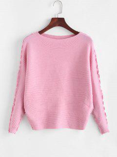Solid Lettuce Trim Dolman Sleeve Sweater - Light Pink