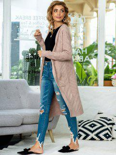 Open Front Heathered Dual Pocket Cardigan - Coffee