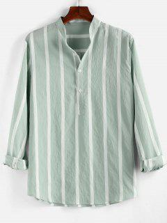 ZAFUL Striped Print Half Button Long Sleeve Shirt - Light Green Xl