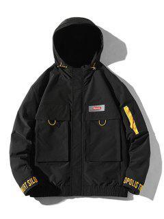 Letter Embroidery Flap Pockets Hooded Jacket - Black 2xl