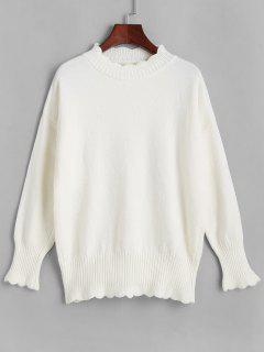 Scalloped Drop Shoulder Mock Neck Sweater - White