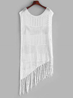 Asymmetrical Crochet Knit Tasseled Cover Up Dress - White M