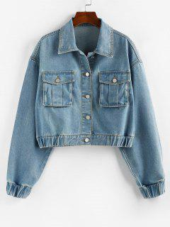 ZAFUL Drop Shoulder Elastic Cuffs Pocket Denim Jacket - Light Blue S