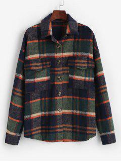 ZAFUL Flannel Plaid Shirt Jacket - Deep Green M