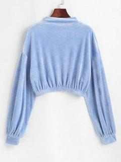 ZAFUL Mock Neck Velvet Cropped Sweatshirt - Powder Blue L