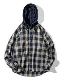 Plaid Letter Print Colorblock High Low Hooded Shirt - Coffee 2xl