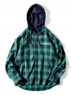 Plaid Letter Print Colorblock High Low Hooded Shirt - Dark Green 2xl