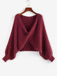 ZAFUL Batwing Sleeve Front Twist Sweater - Deep Red S