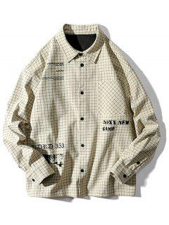 Tartan Letter Graphic Pocket Long Sleeve Shirt - Beige 2xl