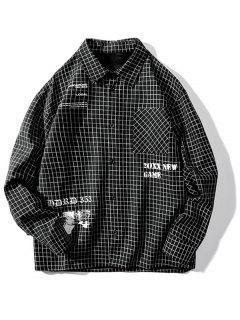 Tartan Letter Graphic Pocket Long Sleeve Shirt - Black M