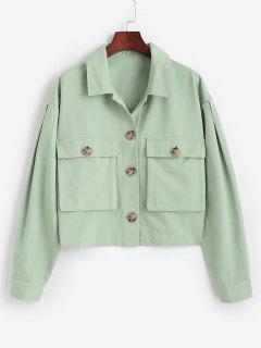 ZAFUL Tortoiseshell Button Cargo Jacket - Light Green M