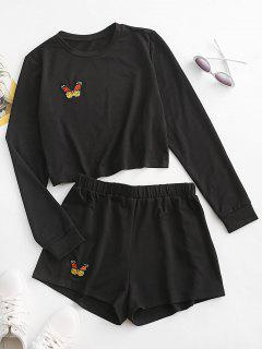 ZAFUL Butterfly Embroidered Long Sleeve Shorts Set - Black S