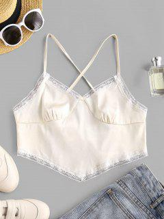Lace Up Criss Cross Lace Trim Satin Crop Top - Warm White L
