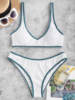 ZAFUL Ribbed Contrast Whip Stitching Tank Bikini Swimwear - White S