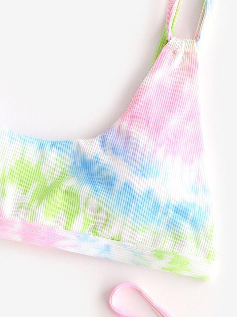 womens ZAFUL Tie Dye Ribbed Dual Straps Bikini Swimwear - MULTI M Mobile