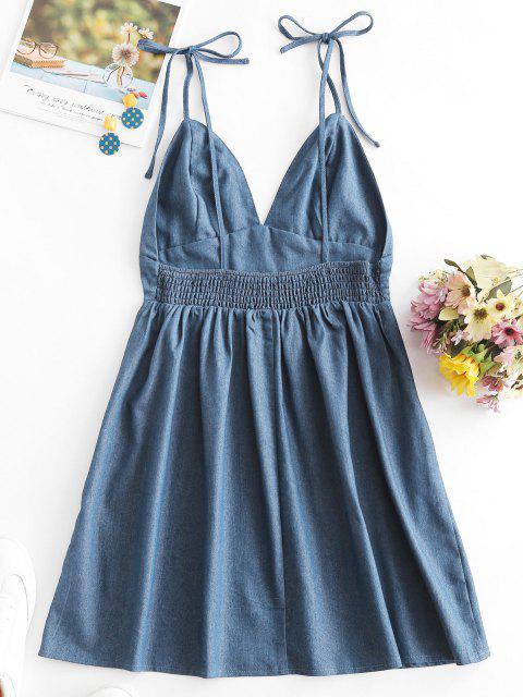shops Olivia Messler X ZAFUL Open Back Tie Shoulder Chambray Mini Dress - LIGHT BLUE S Mobile