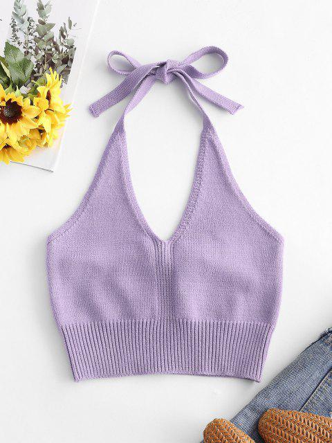 ladies Olivia Messler X ZAFUL Solid Knitted Halter Crop Top - PURPLE S Mobile