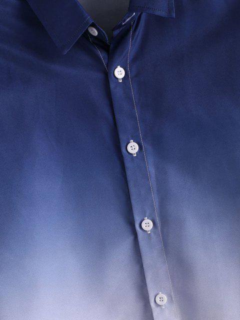 カジュアルシャツアップZAFULグラデーションボタン - 青 2XL Mobile