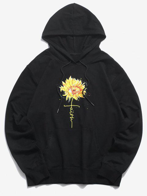 ladies Daisy Floral Graphic Front Pocket Pullover Hoodie - BLACK 2XL Mobile