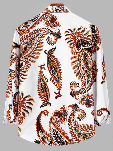best Plant Leaf Print Button Down Shirt - WHITE M Mobile