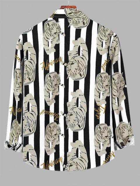 chic Contrast Stripes Tiger Print Long Sleeve Shirt - TRANSPARENT 2XL Mobile