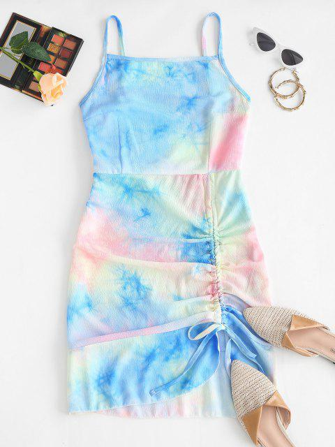Cami Asymmetrical Flame Zebra Tie Dye Cinched Dress - أزرق فاتح S Mobile