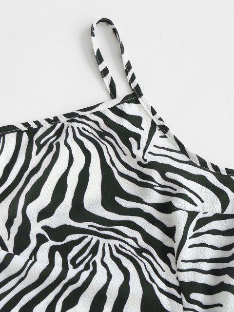 Vestido Asimétrico de Tirantes Finos con Nudo y Estampado de Cebra - Negro S Mobile