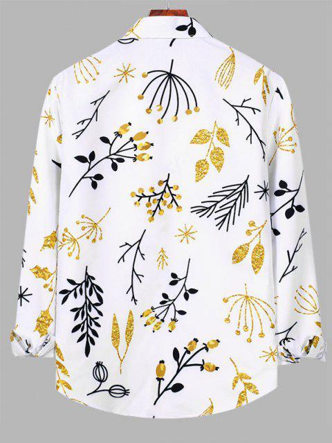 Camisa Manga Larga Estampado Planta Botón - Blanco M Mobile