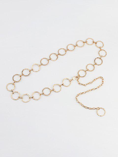 shops Textured Hollow Circle Waist Chain - GOLDEN  Mobile