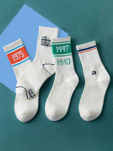 buy 4Pairs Letters Sports Crew Socks Set - MULTI-A  Mobile