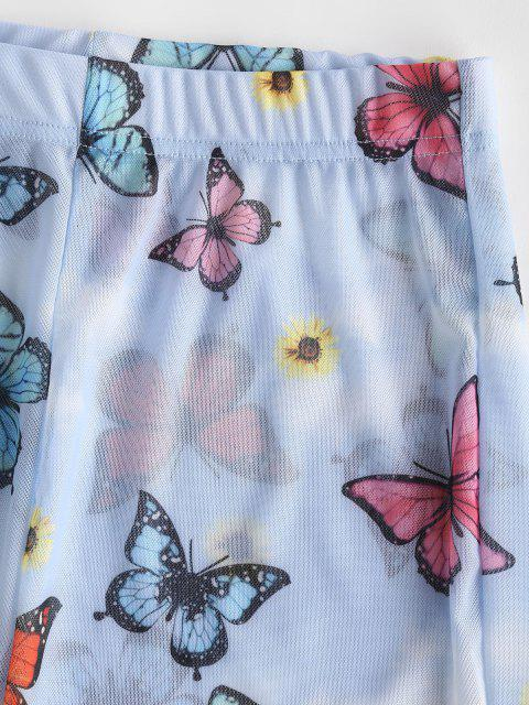 ladies Sheer Mesh Butterfly Sunflower Biker Shorts - MULTI-A S Mobile