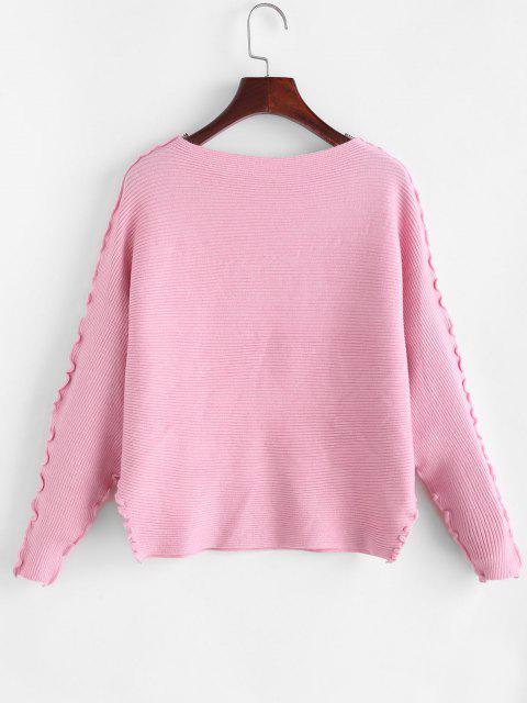 Einfarbiger Kopfsalat Trim Dolman Ärmel Pullover - Helles Rosa Eine Größe Mobile