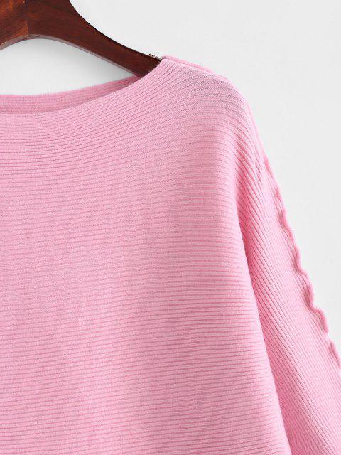 無地レタストリムドルマンスリーブセーター - ライトピンク ワンサイズ Mobile