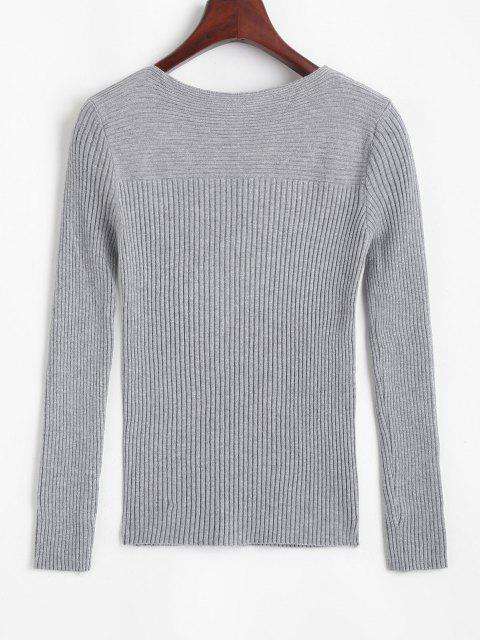 shops Ribbed Keyhole Twisted Jumper Sweater - GRAY ONE SIZE Mobile
