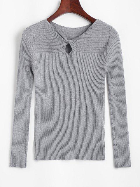 Gerippter Schlüsselloch Verdrehter Pullover - Grau Eine Größe Mobile