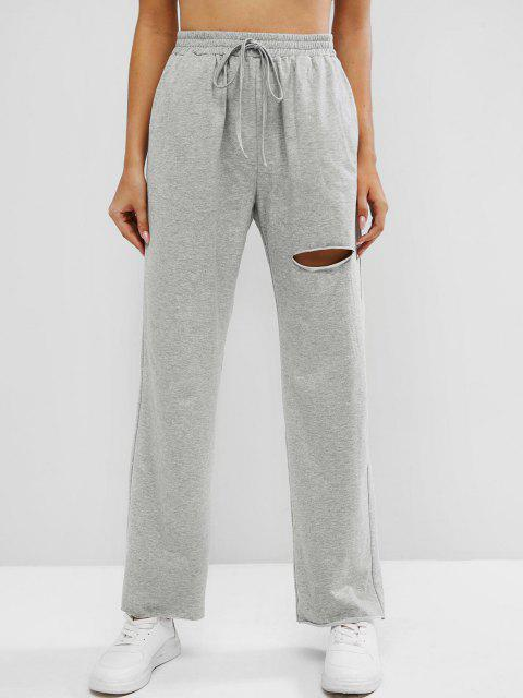 new ZAFUL Knee Ripped High Waisted Pocket Straight Pants - GRAY L Mobile