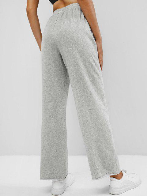 sale ZAFUL Knee Ripped High Waisted Pocket Straight Pants - GRAY M Mobile