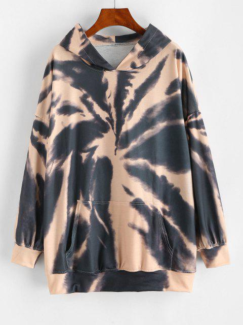 fancy Front Pocket Tie Dye Oversized Hoodie - SEPIA S Mobile