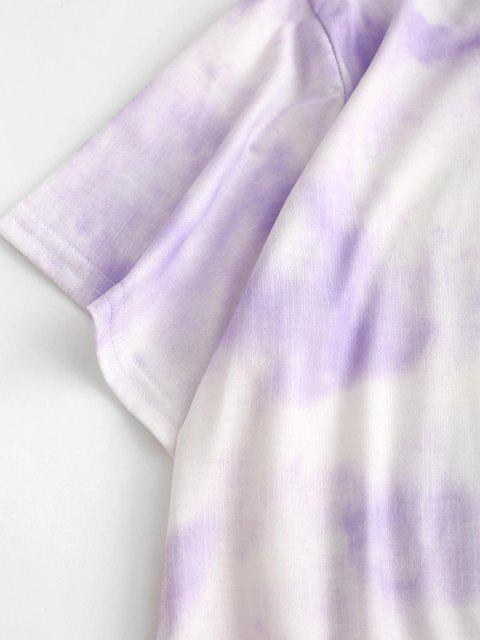 shop Tie Dye Lounge Two Piece Set - LIGHT PURPLE S Mobile