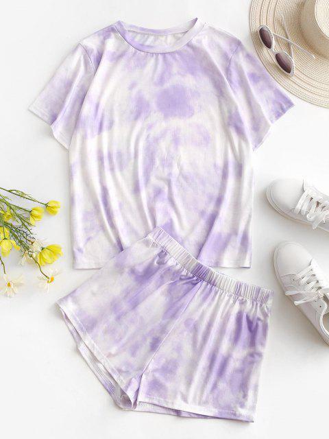 outfits Tie Dye Lounge Two Piece Set - LIGHT PURPLE L Mobile