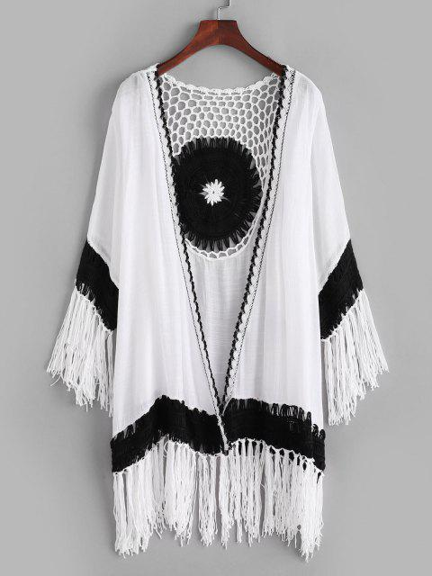 outfit Bicolor Crochet Tassel Collarless Cover Up - WHITE ONE SIZE Mobile