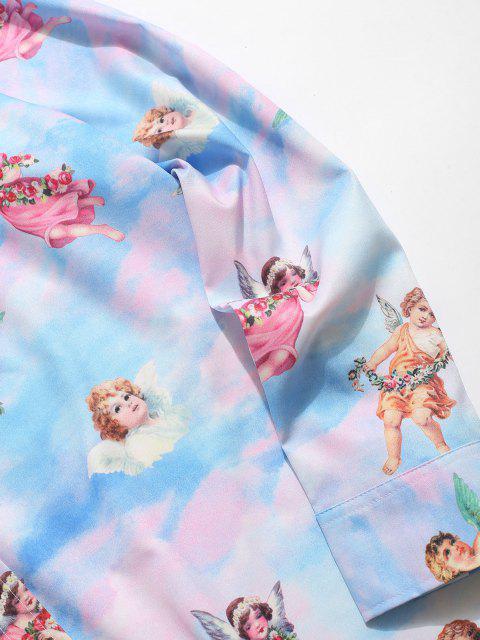 hot Button Up Angel Print Renaissance Art Shirt - LIGHT BLUE M Mobile